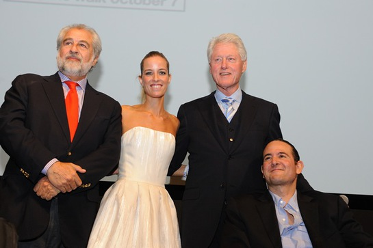 Orlando Gonzales-Bunster, Carolina Gonzales-Bunster, President Bill Clinton, and Luis Gonzalez-Bunster attend the after party for the premiere of The Way to benefit the Walkabout Foundation