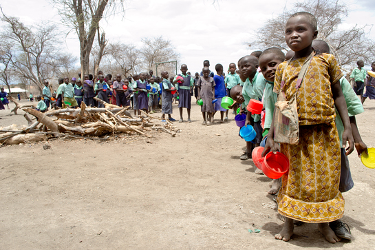 Thousands of children in Kenya are being fed by a school's feeding programme for schoolchildren and their younger brothers and sisters funded through Plan's sponsorship programme.