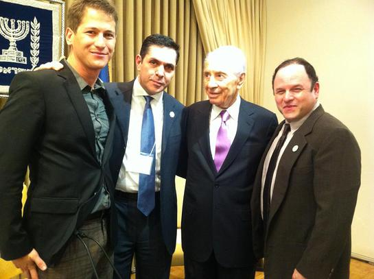 OneVoice Israel Executive Director Tal Harris, OneVoice Founder Daniel Lubetzky, President Shimon Peres, and OneVoice Entertainment Council member Jason Alexander