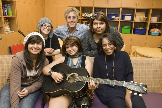 Rock icon Roger Daltrey of the Who visits pediatric cancer patients at Ronald Reagan UCLA Medical Center.