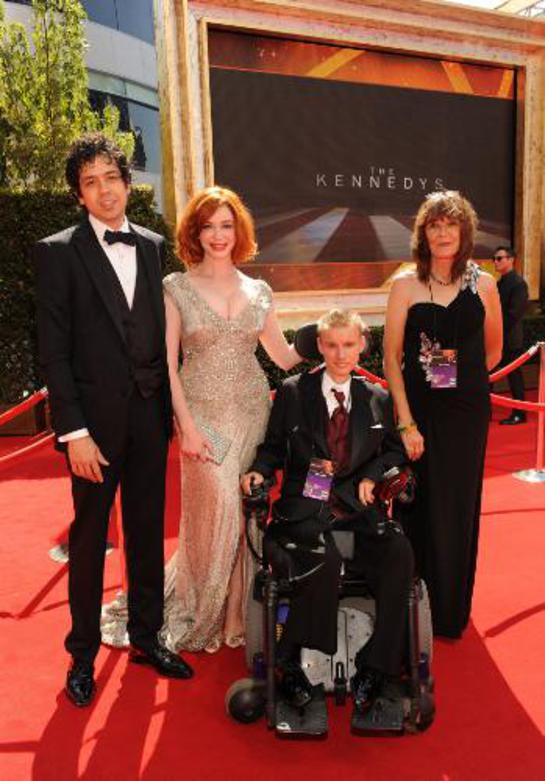 Christina Hendricks and Geoffrey Arend at the 63rd Primetime Emmy Awards with David and Diana Kumferman.