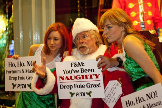 Bill Oddie Delivers Bag of Coal to Naughty Fortnum and Mason