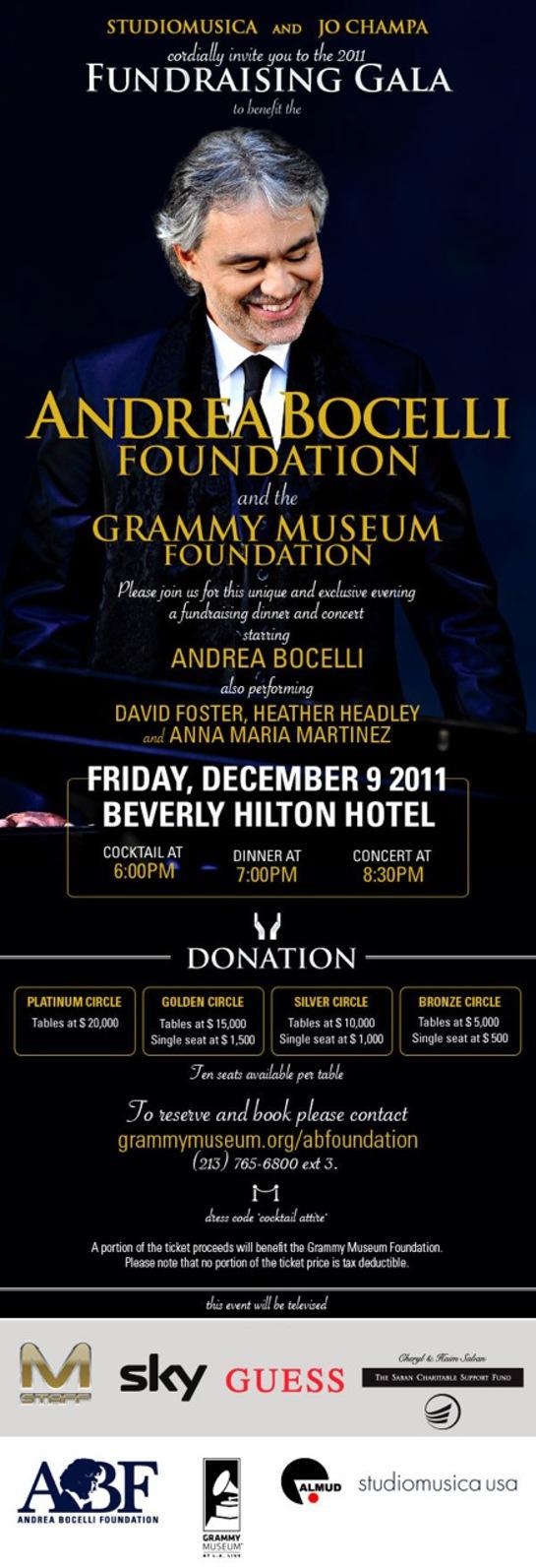 Andrea Bocelli Foundation Launch