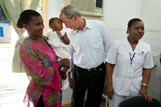President Bush visits PEPFAR supported AIDS Clinic in Dar es Salaam, Tanzania on World Aids Day.