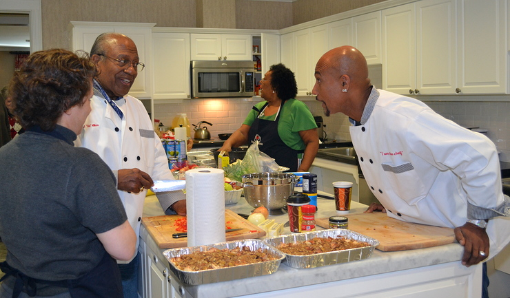 Montel Williams And Family Cook At Fisher House
