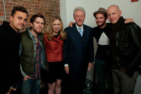 Chelsea and Bill Clinton backstage with The Fray