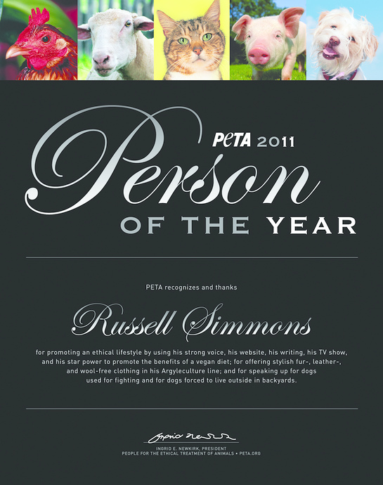 Russell Simmons PETA Person of the Year 2011