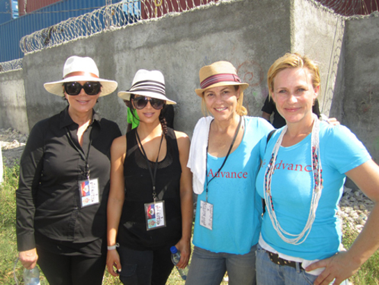Kris Jenner, Kim Kardashian, Maria Bello, and Patricia Arquette in Haiti. Photo: Rachel Tanzer