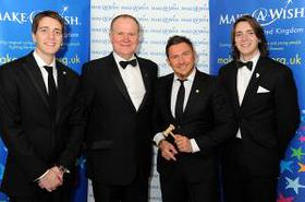Make-A-Wish Chief Executive Neil Jones with Jamie Breese and James & Oliver Phelps