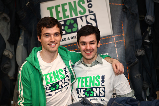 Pretty Little Liars stars Ian Harding (L) and Brendan Robinson Teens For Jeans