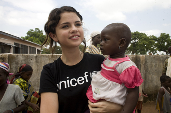 Selena Gomez during a visit to Ghana with UNICEF in 2009