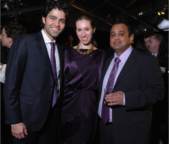 Adrian Grenier and Christie's Vice President Rachel Orkin-Ramey celebrate with renowned whisky investor Mahesh Patel