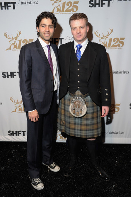 Adrian Grenier celebrating alongside Glenfiddich's famed Malt Master Brian Kinsman