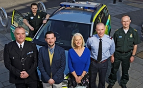 Helen Mirren and Ambulance Staff