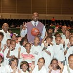Shaq O'Neal Signs Basketball For Boys' And Girls' Club