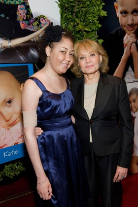 Barbara Walters and Ronald McDonald House New York resident Jessica Fanini-Lemoine celebrate at the House's 20th Annual Gala