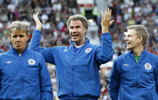 Will Ferrell stands between Chef Gordon Ramsay, left, and television presenter Patrick Kielty before the Soccer Aid charity soccer match in aid of UNICEF at Old Trafford Stadium, Manchester, England, Sunday, May 27, 2012.