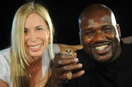 Mireya Mayor, Shaquille O'Neal and Fuggles the Mouse Lemur