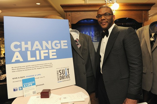 New Orleans native Tyler Perry helped unemployed men by donating a Tommy Hilfiger two-button gray suit with a Calvin Klein gray and pink tie.