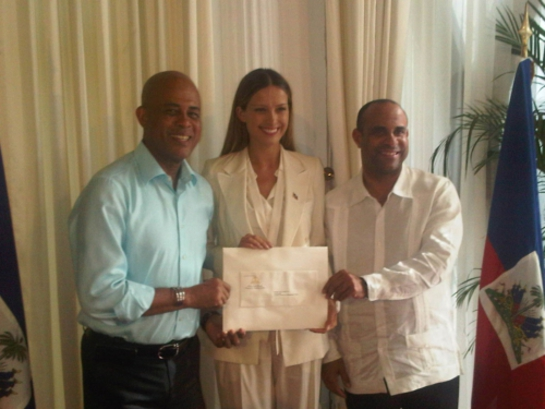 President of the Republic of Haiti Michel Martelly (left) appointed Petra Nemcova, founder and chairwoman of nonprofit organization Happy Hearts Fund, as ambassador at large for Haiti.