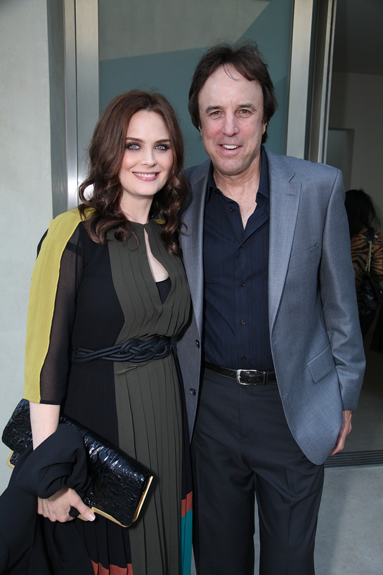 Emily Deschanel poses with Kevin Nealon