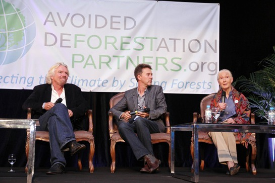 Richard Branson, Founder, the Virgin Group, Edward Norton, Actor, environmental activist and UN Goodwill Ambassador for Biodiversity, and Dr. Jane Goodall, DBE, Founder, the Jane Goodall Institute and UN Messenger of Peace