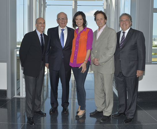 Jeffrey Katzenberg, Rupert Murdoch, Wendi Murdoch, Michael Douglas, and MPTF Board Member and Co-Chairman & Chief Executive Officer of Fox Filmed Entertainment Jim Gianopulos