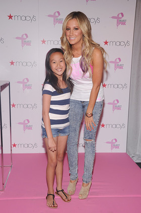 Ashley Tisdale and a guest kick off PUMA's Project Pink Initiative at Macy's Herald Square