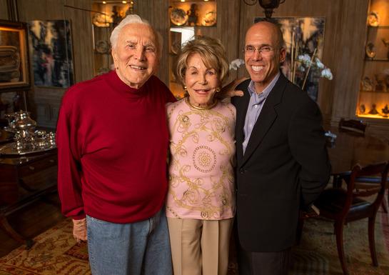 Kirk and Anne Douglas with Jeffrey Katzenberg