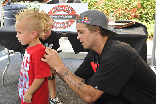 Ryan Sheckler meets with fans Jake Cooke, left, and Kyle Cooke at Boston Market