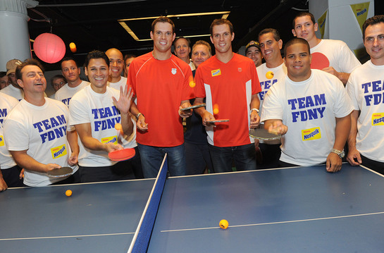 Bryan Brothers Play Charity Ping Pong