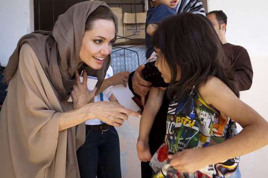 Angelina Jolie meets today with a young Syrian refugee in the Bekaa Valley, Lebanon.
