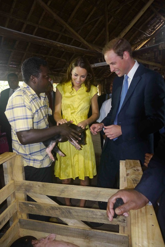 The pigs are used as a project to help local people earn a good living in an area where people often survive on less than $2 a day. The Duke suggested Will and Kate may be apt names for the pair of the piglets.