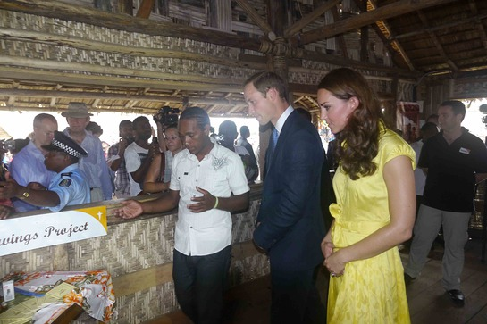 The Duke and Duchess meet Ellison Maitaifiri. He works with youth in the nearby Burns Creek settlement.