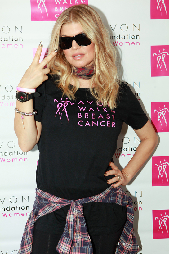 Fergie sports the 20th Anniversary Avon Breast Cancer Crusade Watch, available for $20 with 100% of net proceeds benefitting the Avon Breast Cancer Crusade.