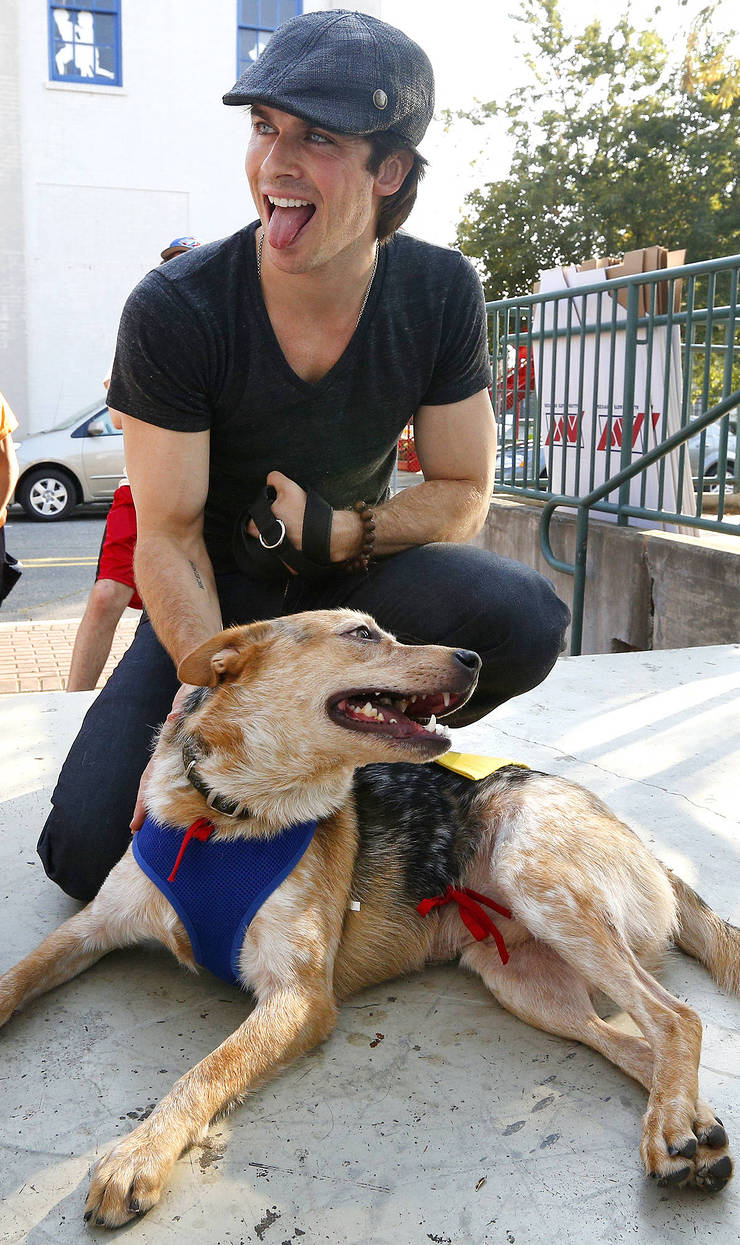 Ian Somerhalder and friend at the Strut Your Mutt event