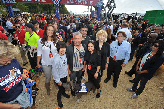 Cesar Millan, center, and National Pack Walk partners gear up to lead the Second Annual National Family Pack Walk