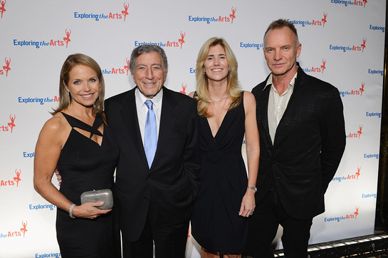 Katie Couric, Tony Bennett, Susan Benedetto and Sting attend the 6th Annual Exploring the Arts Gala hosted by Tony Bennett And Susan Benedetto
