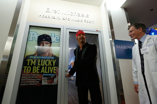 Bret Michaels and his neurosurgeon Joseph Zabramski, MD, officially open the Bret Michaels' Hospitality and Music Room at Barrow Neurological Institute at St. Joseph's Hospital in Phoenix