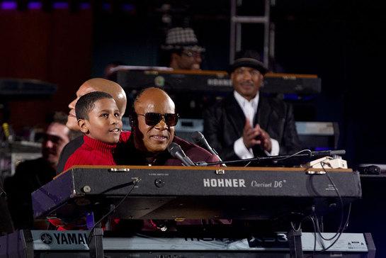 Stevie Wonder on stage at UN Day Concert