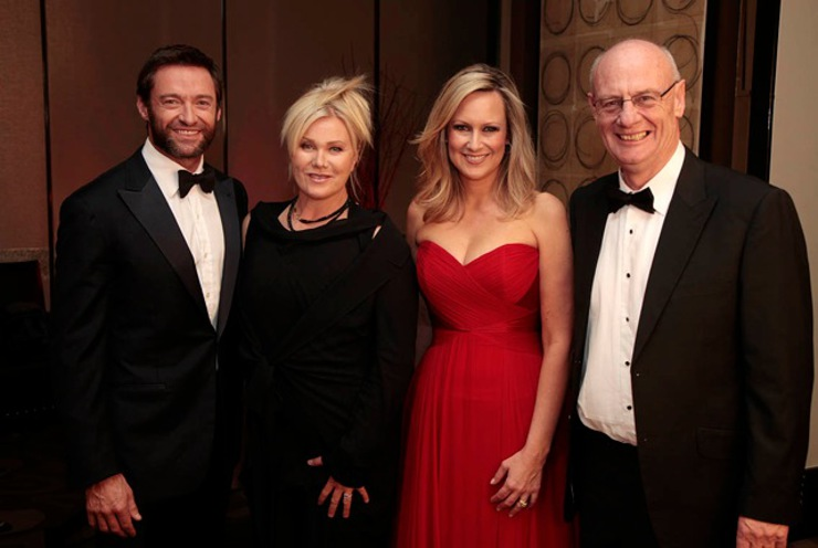 Hugh Jackman, Deborra-lee Furness and Melissa Doyle with World Vision Australia chief executive Tim Costello at the World Vision Australia Seeds of Hope event