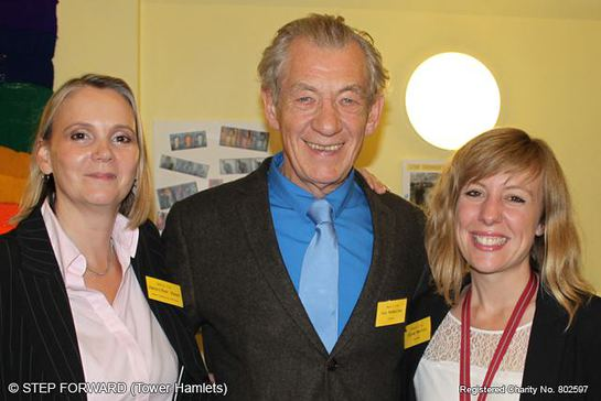 Step Forward CEO Jennifer Fear, Patron Ian McKellen, Charity Chair Chloe Martin