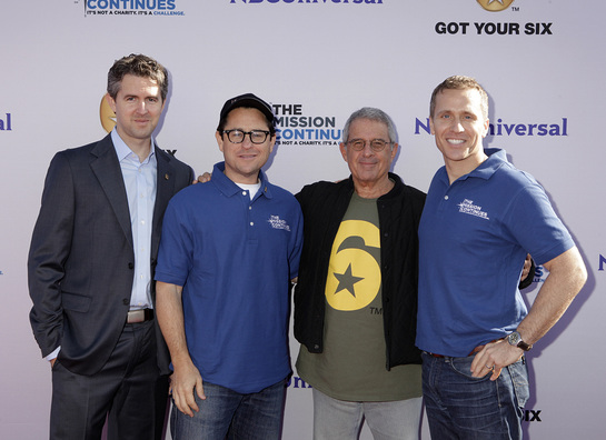 Chris Marvin, Managing Director of Got Your 6, J.J. Abrams, Ron Meyer, President and COO of Universal Studios and Eric Greitens, CEO of The Mission Continues at the Got Your 6 and The Mission Continues Service Project Event