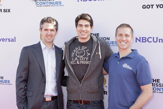 Chris Marvin, Managing Director of Got Your 6, Brandon Routh and Eric Greitens, COO of The Mission Continues at the Got Your 6 and The Mission Continues Service Project