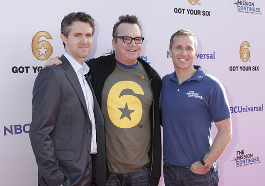 Chris Marvin, Managing Director of Got Your 6, Tom Arnold, Eric Greitens, CEO of The Mission Continues at the Got Your 6 and The Mission Continues Service Project Event at Universal Studios.