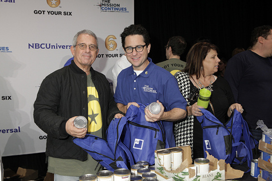 Ron Meyer, President and COO of Universal Studios and JJ Abrams engaged in service at the Got Your 6 and The Mission Continues Service Project Event at Universal Studios