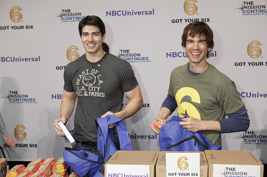 Brandon Routh and Christopher Gorham happily engaged in service at the Got Your 6 and The Mission Continues Service Project Event at Universal Studios