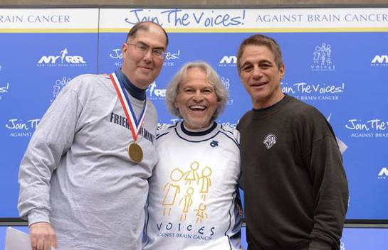 Michael Weiner, Executive Director of the MLBPA, is awarded by Voices Against Brain Cancer founder, Mario Lichtenstein, and Tony Danza for his encouraging support to help raise funds for brain cancer research