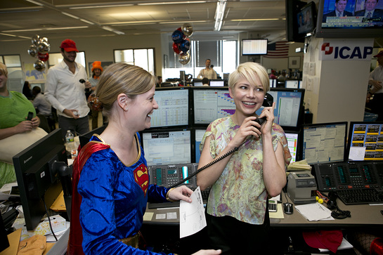 Actress Michelle Williams helps raise money during ICAP's 20th annual global Charity Day on December 5, 2012, from the Group's North American headquarters in Jersey City, NJ.