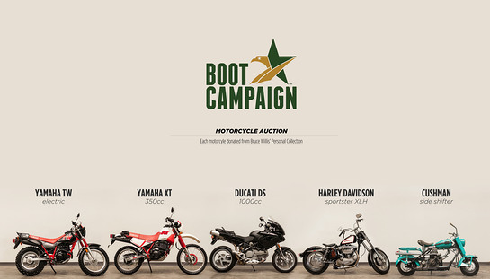 Motorcycle Auction to Benefit The Boot Campaign, a veteran awareness and support organization, featuring motorcycles from actor Bruce Willis' personal collection